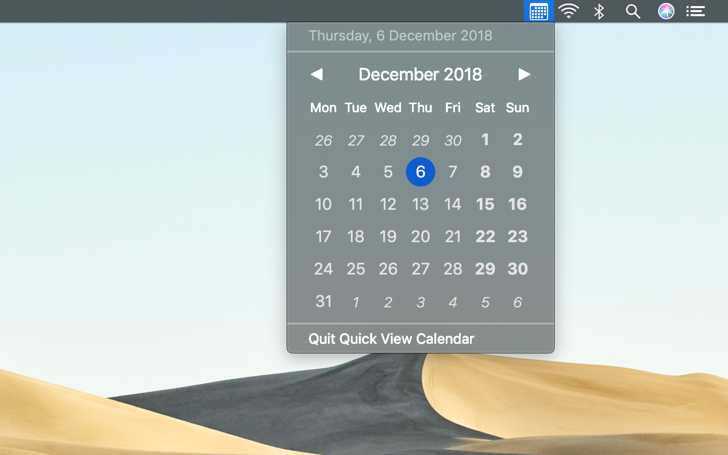 Quick View Calendar adapts to dark mode