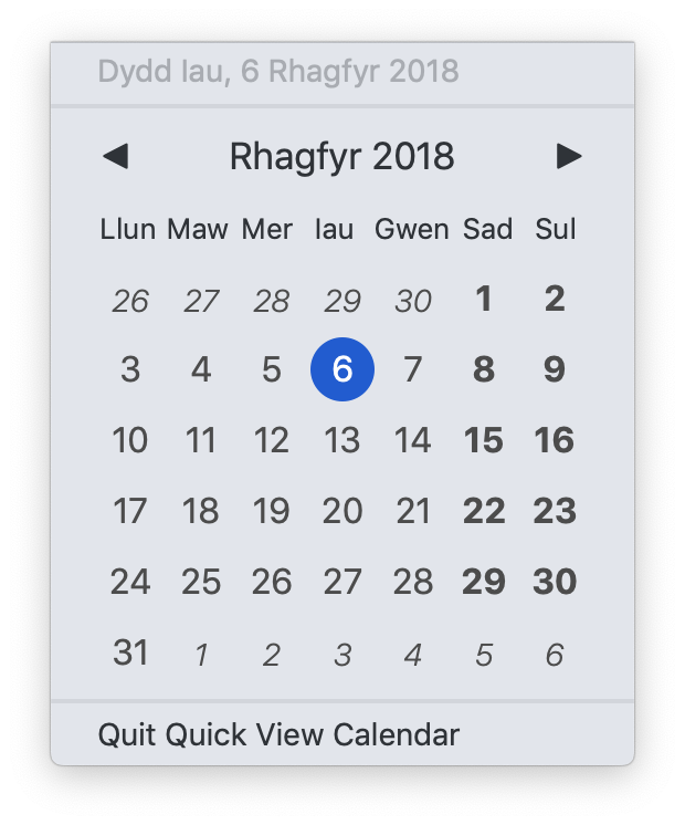 Quick View Calendar in Welsh