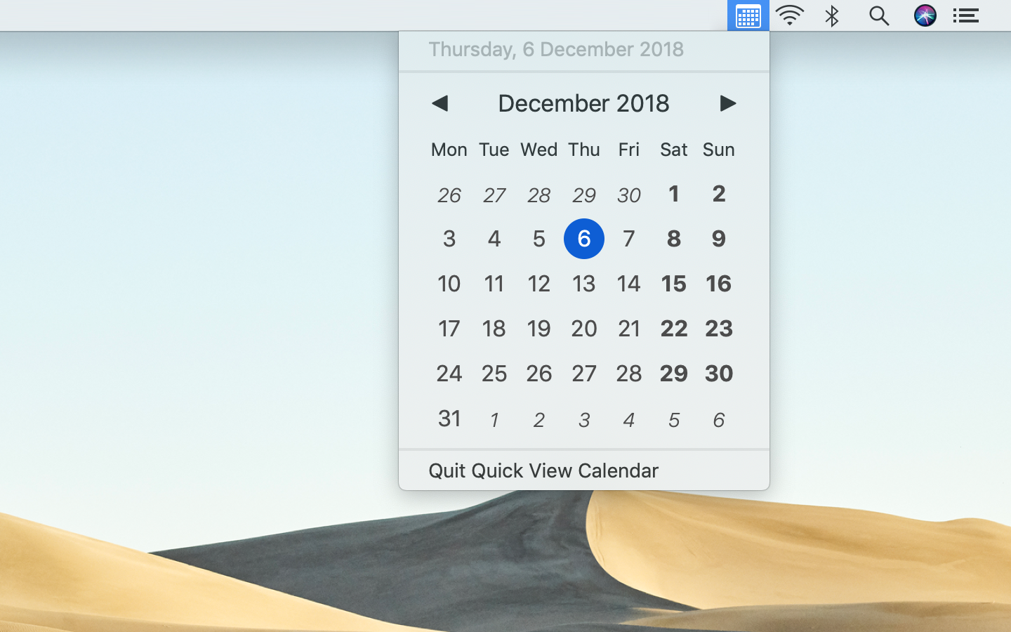 Quick View Calendar adapts to light mode