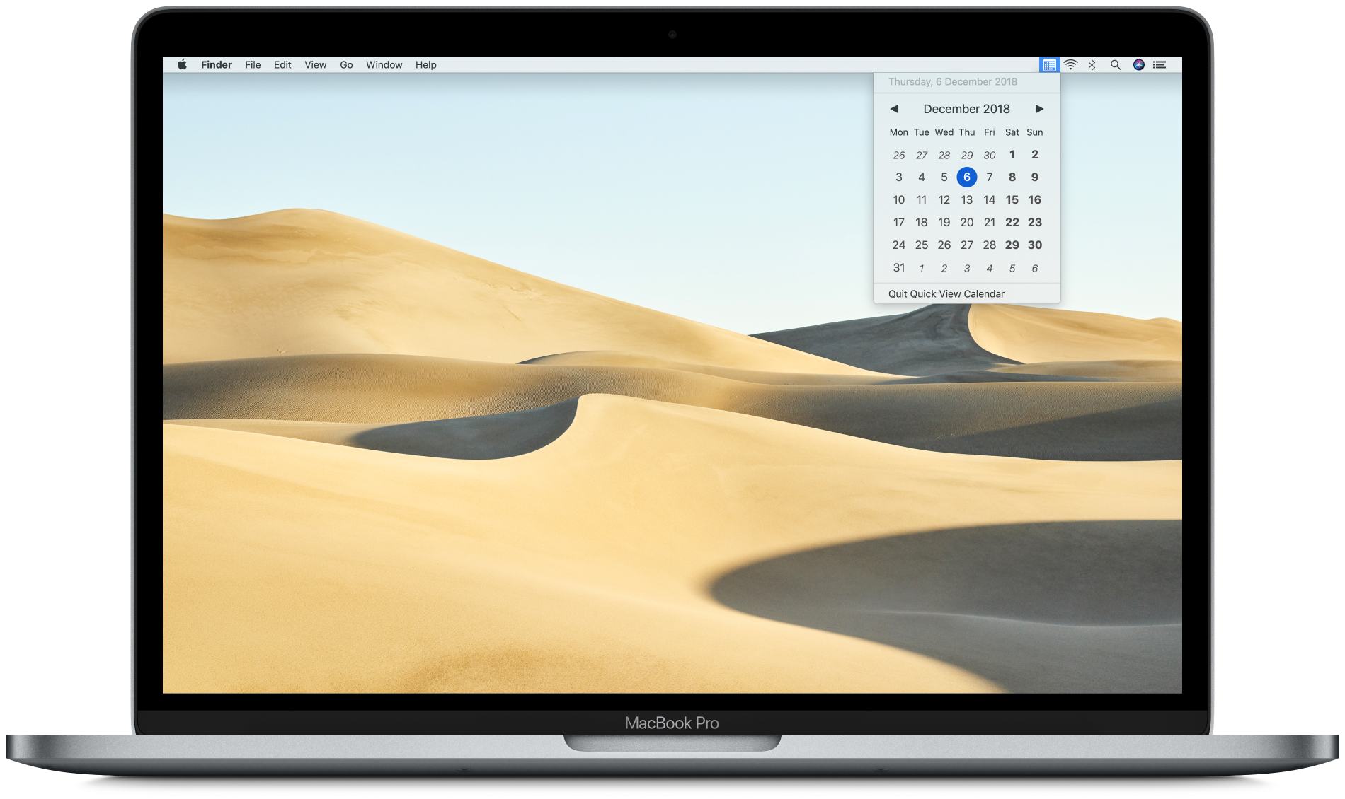 Quick View Calendar on a MacBook Pro