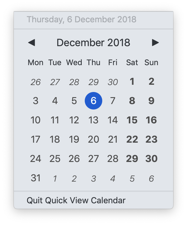 Quick View Calendar in light menu bar mode